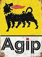AGIP Fuel ITALIA Retro vintage metal wall sign plaque garage workshop