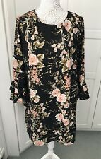 Papaya black floral Swing dress size 18 Frill Cuff Summer Holidays Stunning