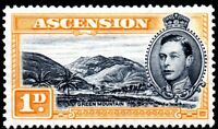 1940 Ascencion Sg 39a 1d black and yellow-orange (perf 13½) Mounted Mint