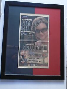 """ASHLEY FORCE """"FRAMED AUTOGRAPHED USA TODAY AD"""" John Force Racing Rookie year"""
