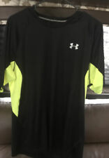 Under Armour Work Out Exercise Cold Black/ Yellow Shirt Men's Xl Heatgear