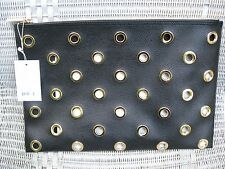 DEUX LUX CLUTCH PARIS POUCH PURSE * BLACK with GROMMETS * COOL! * Orig. tag $110