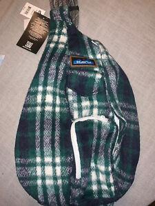 ⭐️ New Kavu Plaid Flannel Rope Bag, Blue Green NorthWest NWT Crossbody Sling