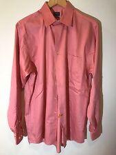 Arrow Mens Sz 15 1/2 34-35 Button Front Solid Shirt Pink 100% Cotton