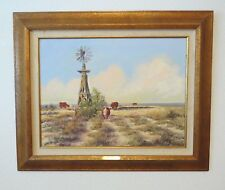 "Framed Original Oil Painting by Jim Ward Entitled ""Windmill"" Western Artist"