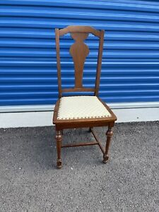 antique wood chair T- back single straight chair vgc rare