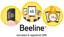 NEW! activated SIM CARD BEELINE RUSSIA / Russian good for roaming