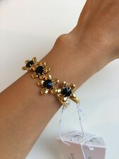 "NWT Kate Spade ""Sunset Blooms"" Gold-Tone Open Cuff Bracelet Black/Multi MSRP $88"