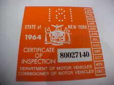 new york 1964 registration inspection sticker windshild