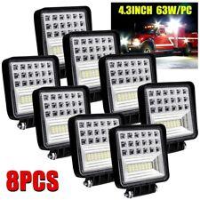 4Inch 8Pcs LED Work Light Spot Flood Combo Beam Square excavator Driving Light
