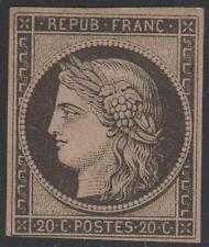 "FRANCE STAMP TIMBRE N° 3 b "" CERES 20c NOIR SUR CHAMOIS "" NEUF x TB SIGNE J738"