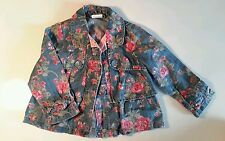 Kids Girls Next denim jacket coat floral print blue age 1-2 years