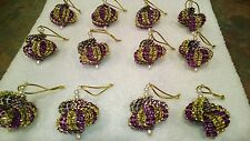 12 HANDMADE CHRISTMAS ORNAMENTS MADE WITH BLING YELLOW- GOLD AND PURPLE LSU