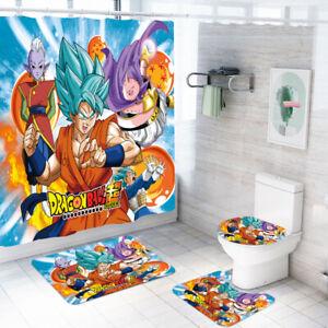 Dragon Ball Super Bathroom Rug Shower Curtain 4PCS Bath Mat Toilet Lid Cover Mat