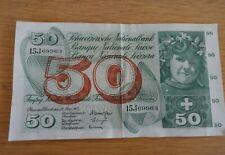 1 x 1963 switzerland 50 francs/franken bank note 28/03/63
