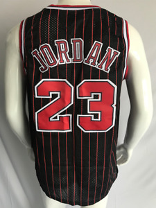 NWT #23 Michael Jordan Chicago Bulls Pinstripe Black Stitched Jersey Size M-XL