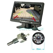 "7"" Car LCD TFT Monitor + Bumper Hole 9 IR LED Reversing Camera Car Rear View Kit"