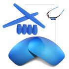 Walleva Ice Blue BL Polarized lenses w Earsocks T-Shocks for Oakley X-Squared