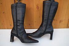 BARRATS Women Black Leather Mid Calf Lined Boots size UK8 EU 41