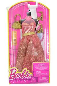 NIP Mattel Barbie Fashion Rose Gold Glitter Gown Sparkle Dress Shoes Purse 2013