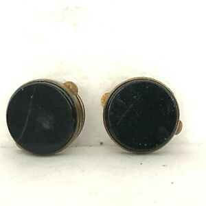 Pair of Vintage  Black Onyx Cufflinks spring release Some Damage edwardian