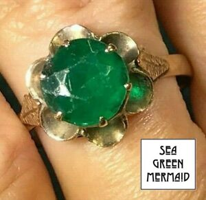 10k Yellow Rose Gold Emerald Doublet Buttercup Ring__b80_18