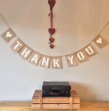 ❤️ THANK YOU Wedding Bunting Hessian Banner Vintage Party Burlap Rustic ❤️
