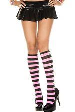 Cute Black & Pink Skull Stripe Socks Warm Pirate Kawaii Knee High 25% Lycra