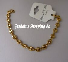 Bracelet bijou homme ado mixte grain de café acier inoxydable doré or 0,6 cm