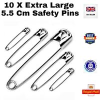 BEST HEAVY STEEL 10 x Extra-Large 5.5cm silver/chrome safety pins Clothes Crafts