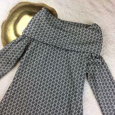 Ann Taylor Loft Womens Long Sleeve Sweater Dress Geometric Cowl Neck Size Small