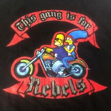 HOMER & MARGE THE SIMPSONS This Gang is For Rebels T-SHIRT XL BIKER MOTORCYCLE