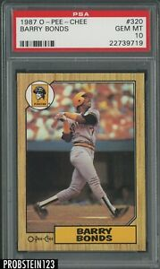 1987 O-Pee-Chee OPC #320 Barry Bonds RC Rookie PSA 10 GEM MINT