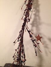 Country Primitive  Berry Garland With Small Metal Stars Farmhouse Decor