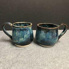 Set of 2 Handmade Pottery Coffee Tea Mugs