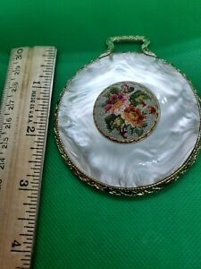 vintage pocket makeup mirror pearlized with tapestry insert and brass trim
