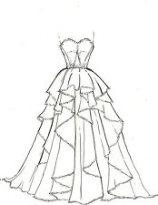 2 PIECES ARTISTS ORIGINAL FASHION ILLUSTRATION SKETCH PENCIL DRAWING  Gown