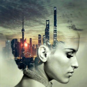 Abstract Woman Face Side Profile City Head Skyline Modern Wall Art Canvas Print
