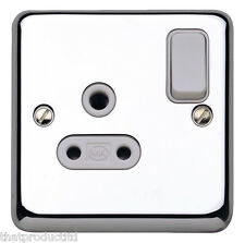 MK Chroma Plus K2881 PCR 5A 1 Gang Double Pole Round Pin Plug Socket In Chrome