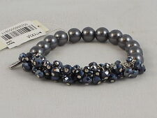 Kenneth Cole Holiday Glitz Pewter Faux Pearl Cherry Bead Stretch Bracelet $45