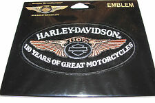 """HARLEY DAVIDSON 110th YEARS OF GREAT MOTORCYCLES CLOTH PATCH EMBLEM 4""""1/2 OVAL"""
