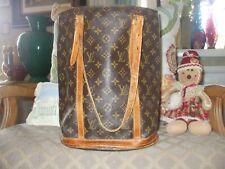 Authentic Louis vuitton bucket tote shoulder bag carryall school shop travel bag