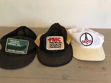 Vtg Trucker Hat Lot of 3 Snapback Caps K Brand FMC REDCO OIL Louisiana ALL MESH