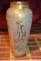 "Vintage Heavy Solid Brass Vase Fine Detailed Etchings 10 5/8""x4 1/2"""