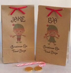Personalised Christmas Eve Treat Gift Bags & Red Ribbon (Magic Elf Design)