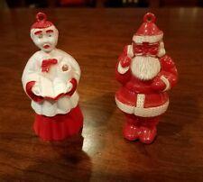 Vintage Hard Plastic Christmas Ornaments  Santa Choir Boy Lot of 2