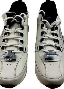 Skechers, Men's Relaxed Fit Oak Canyon Walking Shoes White/Navy (Choose Size)