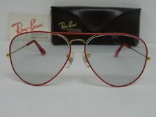 Vintage B&L Ray Ban Large Metal Flying Colors Red Changeable Grey 62mm Aviator