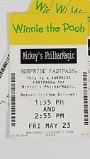 Disney FASTPASS Walt Disney World Fast Pass Ticket WINNIE POOH PHILMARMAGIC 0155