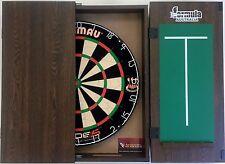 Winmau Blade 5 FIVE Dart Board & Formula Walnut Cabinet + 6 x Darts Gift SET